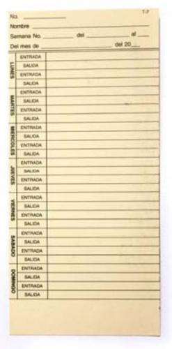 Acroprint Tarjeta Checadora T-7, Semanal, Impresión Lado Derecho, 1000 Piezas, Beige