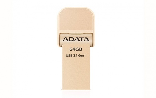 Memoria USB Adata AI920, 64GB, Lightning/ USB 3.0, Oro - para iPhone/iPad/iPod