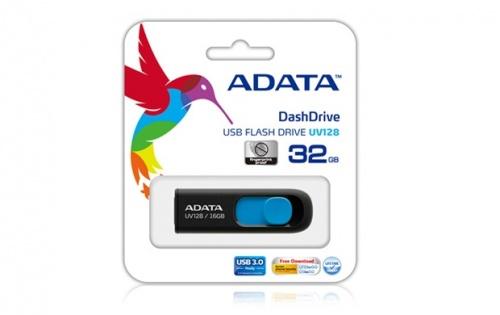 Memoria USB Adata Dashdrive UV128, 128GB, USB 3.0, Negro/Azul
