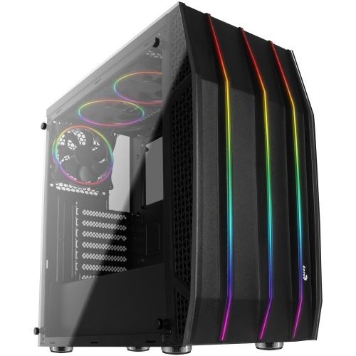 Gabinete Aerocool Klaw con Ventana RGB, Midi-Tower, ATX/Micro-ATX/Mini-ITX, USB 2.0/3.1, sin Fuente, Negro
