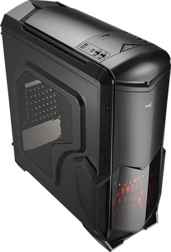 Gabinete Aerocool Battlehawk con Ventana LED Rojo, Midi-Tower, ATX/micro-ATX/mini-iTX, USB 2.0/3.0, sin Fuente, Negro