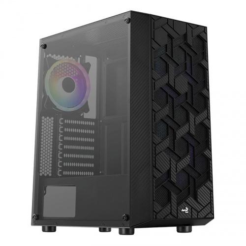 Gabinete Aerocool HIVE-G-BK-V1 con Ventana, Midi-Tower, ATX/micro ATX/Mini-ITX, USB 2.0/3.1, sin Fuente, Negro