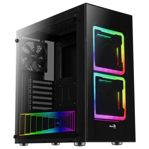 Gabinete Aerocool Tor con Ventana RGB, Midi-Tower, ATX/Micro ATX/Mini-ITX, USB 2.0/3.0, sin Fuente, Negro