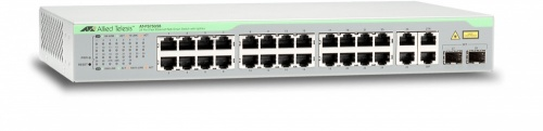 Switch Allied Telesis Fast Ethernet WebSmart, 24 Puertos 10/100Mbps + 2 Puertos SFP, 12.8 Gbit/s, 8000 Entradas - Gestionado