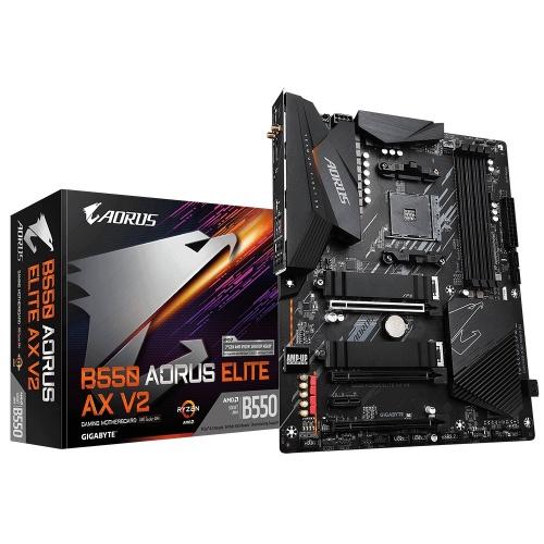 Tarjeta Madre AORUS ATX B550 Elite AX V2, S-AM4, AMD B550, HDMI, 128GB DDR4 para AMD — Requiere Actualización de Bios para la Serie Ryzen 5000
