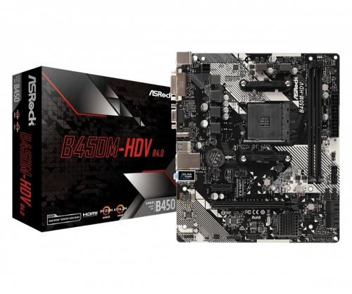 Tarjeta Madre ASRock micro ATX B450M-HDV R4.0, S-AM4, AMD B450, HDMI, 32GB DDR4 para AMD