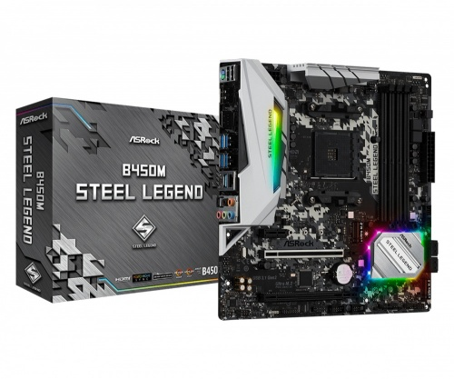 Tarjeta Madre ASRock Micro ATX B450M Steel Legend, S-AM4, AMD B450, HDMI, 64GB DDR4 para AMD