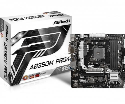 Tarjeta Madre ASRock micro ATX AB350M Pro4, S-AM4, AMD B350, HDMI, 64GB DDR4, para AMD