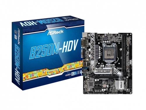 Tarjeta Madre ASRock micro ATX B250M-HDV, S-1151, Intel B250, HDMI, 32GB DDR4, para Intel