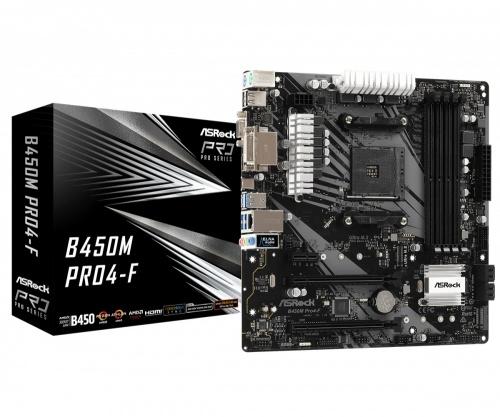 Tarjeta Madre ASRock Micro ATX B450M PRO4-F, S-AM4, AMD B450, HDMI, 128GB DDR4 para AMD — Requiere Actualización de BIOS para Ryzen Serie 5000