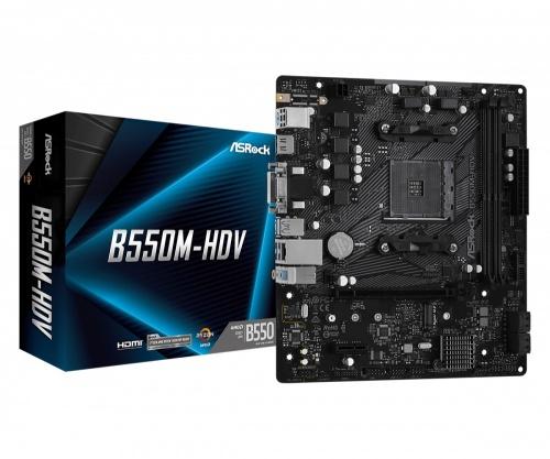 Tarjeta Madre ASRock micro ATX B550M-HDV, S-AM4, AMD B550, HDMI, 64GB DDR4 para AMD - No es Compatible con Ryzen 5 3400G y Ryzen 3 3200G
