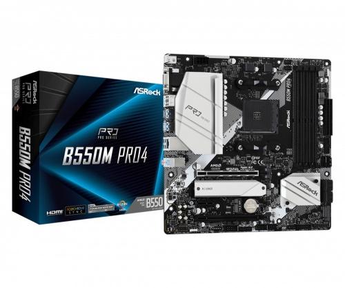 Tarjeta Madre ASRock Micro ATX B550M Pro4, S-AM4, AMD B550, HDMI, 128GB DDR4 para AMD