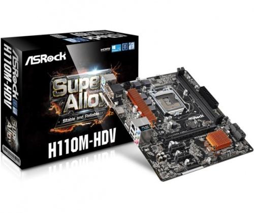 Tarjeta Madre ASRock micro ATX H110M-HDV, S-1151, Intel H110, HDMI/3.1, 32GB DDR4, para Intel