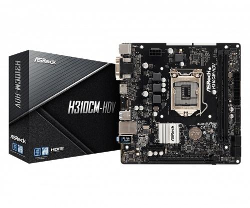 Tarjeta Madre ASRock micro ATX H310CM-HDV, S-1151, Intel H310, HDMI, 32GB DDR4 para Intel ― Compatibles solo con 8va & 9va Generación