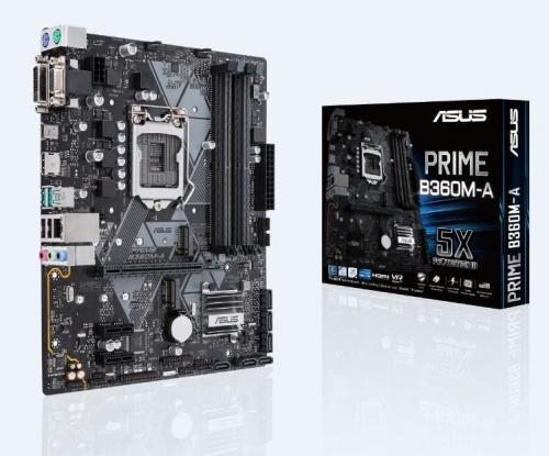 Tarjeta Madre ASUS microATX PRIME B360M-A, S-1151, Intel B360, HDMI, 64GB DDR4 para Intel ― Compatibles solo con 8va & 9va Generación (Revisar modelos aplicables)