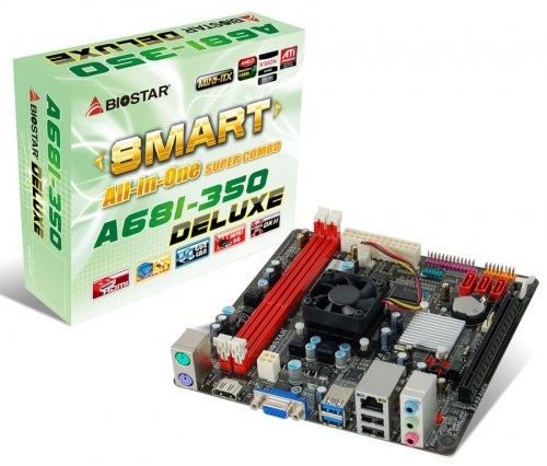 Tarjeta Madre Biostar mini ITX A68I-350 DELUXE Ver. 6.x, FT1 BGA, AMD A68, HDMI, 16GB DDR3, para AMD