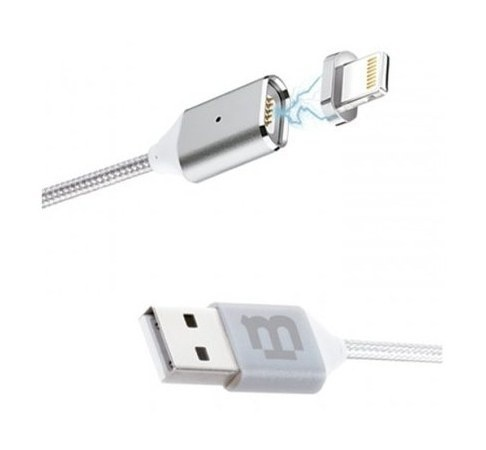 Blackpcs Cable de Carga Lightning Macho Magnético - USB A Macho, 1 Metro, Plata, para iPod/iPhone/iPad/Android