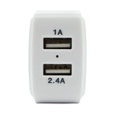 BRobotix Cargador de Pared 180401A, 5V, 2 Puertos USB 2.0, Blanco/Azul