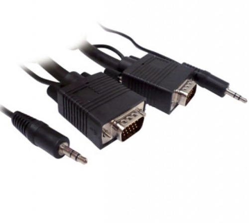 BRobotix Cable VGA/3.5mm Macho - VGA/3.5mm Macho, 7.5 Metros, Negro