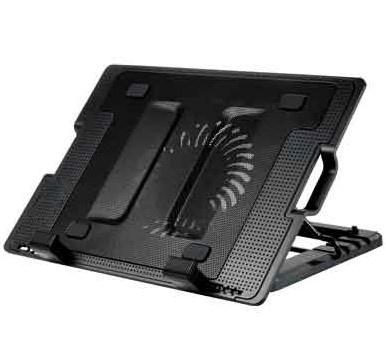BRobotix Base Enfriadora Ajustable + Hub USB, con 1 Ventilador de 1400RPM, Negro