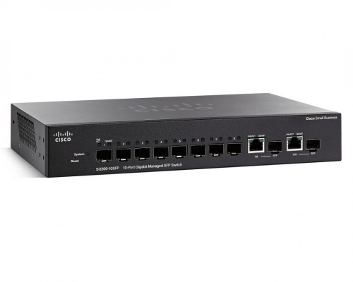 Switch Cisco Gigabit Ethernet SG300-10SFP-K9, 8x Gigabit SFP + 2x Combo Gigabit SFP, 20 Gbit/s, 16384 Entradas - Gestionado