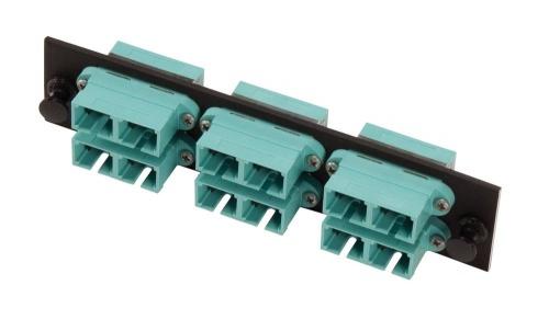 CommScope Panel de 6 Adaptadores de Fibra Óptica SC Duplex, Multimodo, OM3/OM4, Aqua/Negro