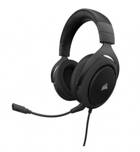 Corsair Audífonos Gamer HS50, Alámbrico, 1.8 Metros, 3.5mm, Negro/Carbón