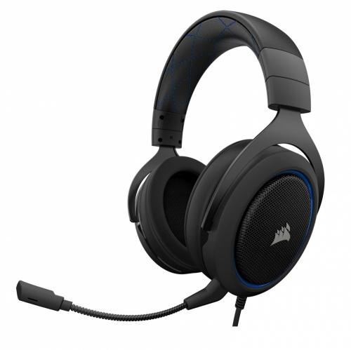 Corsair Audífonos Gamer HS50, Alámbrico, 3.5mm, Negro/Azul