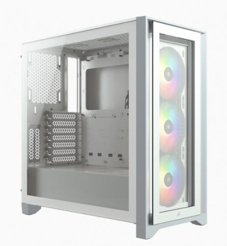 Gabinete Corsair iCUE 4000X RGB con Ventana, Midi-Tower, ATX, USB 3.0, sin Fuente, Blanco