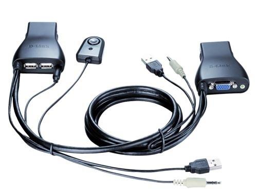 D-Link Cable Switch KVM KVM-222, USB+VGA, 1.8 Metros, 2 Puertos