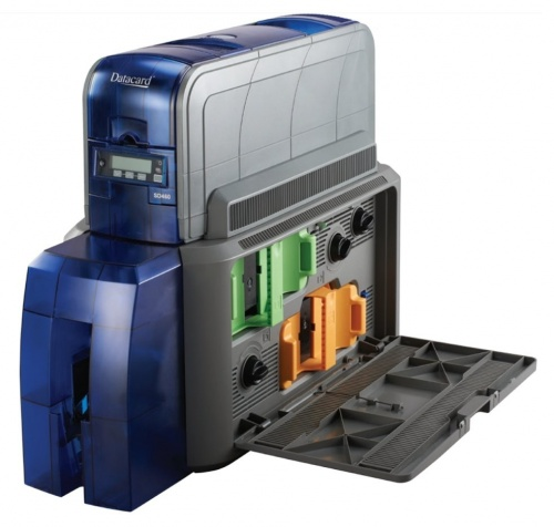 DataCard SD460, Impresora de Credenciales, Sublimación, 300DPI, USB, Ethernet, Negro/Azul