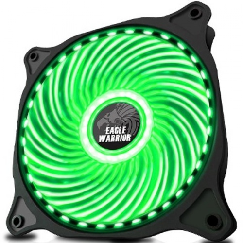 Ventilador Eagle Warrior 33 LED Verde, 120mm, 1200RPM, Negro