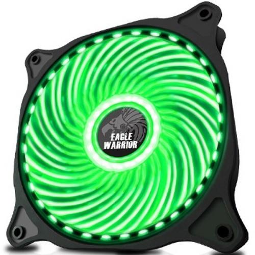 Ventilador Eagle Warrior 33 LED Verde, 120mm, 1200RPM, Negro