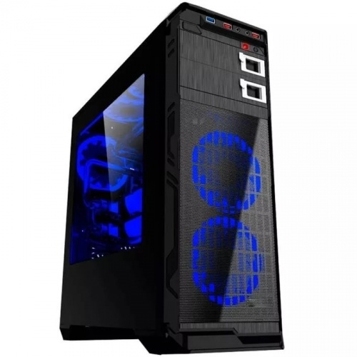 Gabinete Eagle Warrior Blade MK con Ventana LED Azul, Tower, ATX/Micro-ATX, USB 2.0/3.0, sin Fuente, Negro