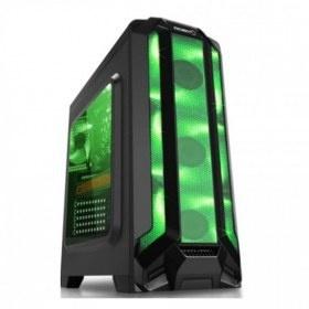 Gabinete Eagle Warrior RobotQ con Ventana LED Verde, Tower, ATX/Micro-ATX, USB 2.0/3.0, sin Fuente, Negro