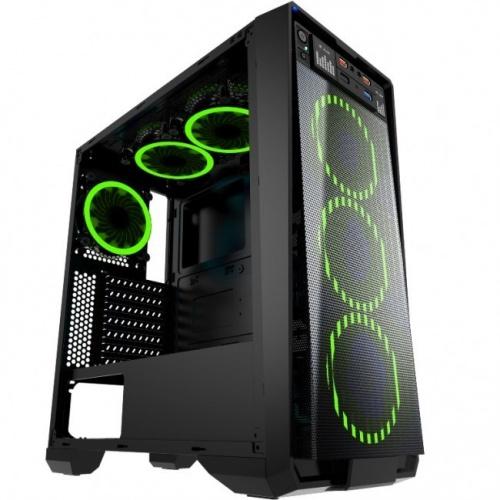 Gabinete Eagle Warrior Skynet con Ventana LED Verde, Tower, ATX/Micro-ATX, USB 2.0/3.0, sin Fuente, Negro