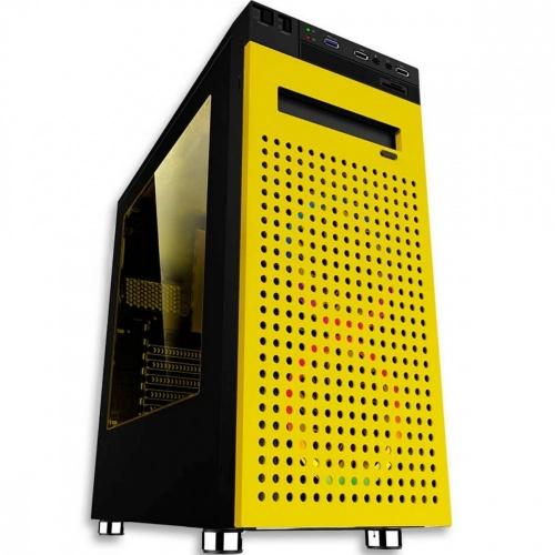 Gabinete Eagle Warrior Changes con Ventana RGB, Tower, ATX/Micro-ATX, USB 2.0/3.1, sin Fuente, Negro/Amarillo
