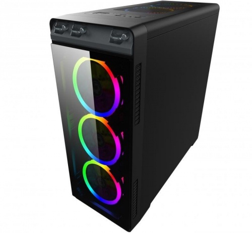 Gabinete Eagle Warrior Mirror Plus RGB, Tower, ATX/Micro-ATX, USB 2.0/3.0, sin Fuente, Negro
