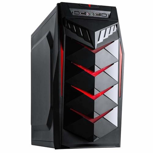 Gabinete Eagle Warrior Mustang, Midi-Tower, ATX/Micro-ATX, USB 2.0/3.0, con Fuente de 450W, Negro/Rojo