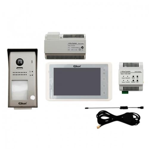 Elikon Kit de Videoportero EVD2-40KIT/EVD2-GSM1, incluye Monitor, Fuente de Poder y Modulo GSM