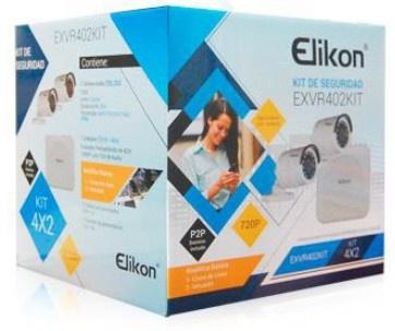 Elikon Kit de Vigilancia EXVR402KIT de 2 Cámaras Bullet y 4 Canales, con Grabadora DVR