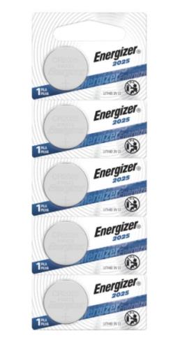 Energizer Pila de Botón CR2025, 3V, 5 Piezas