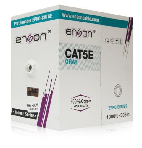 Enson Bobina de Cable Patch Cat5e UTP, 305 Metros, Gris