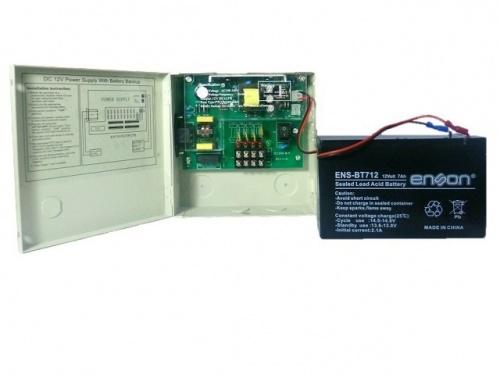 Enson Kit de Fuente PSB-1204B, 12V, 3A, 4 Puertos + Batería 12V