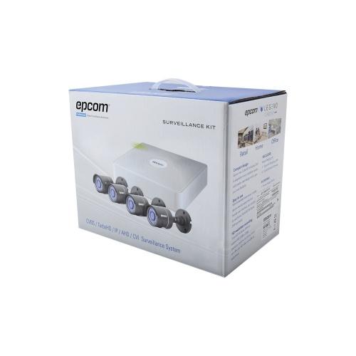 Epcom Kit de Vigilancia Hik-Connect Turbo HD de 4 Cámaras CCTV Bullet y 4 Canales, con Grabadora