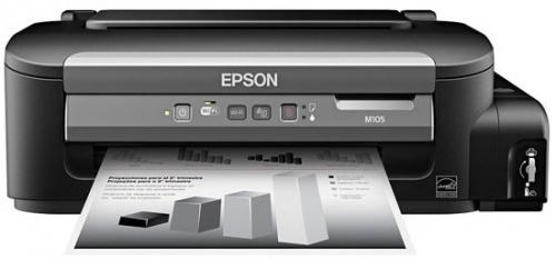 Epson EcoTank WorkForce M105, Blanco y Negro, Inyección, Tanque de Tinta, Inalámbrico, Print
