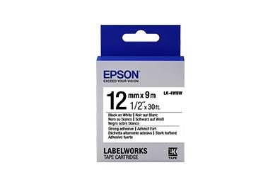 Cinta Epson LK-4WBW Negro sobre Blanco, 12mm x 9m