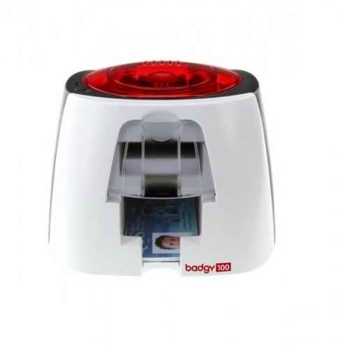 Evolis Badgy 100  Impresora para Tarjetas PVC, 260 x 300 DPI, Blanco/Rojo