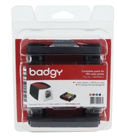 Evolis Kit Cinta + 100 Tarjetas PVC para Badgy 100/200