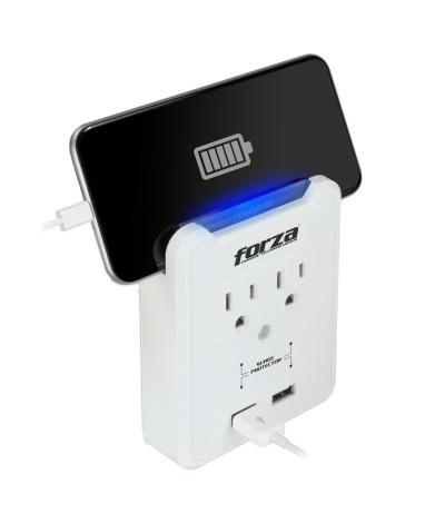 Forza Power Technologies Supresor de Pared FWT-720USB, 2 Contactos + 2x USB, 300J, 1875W